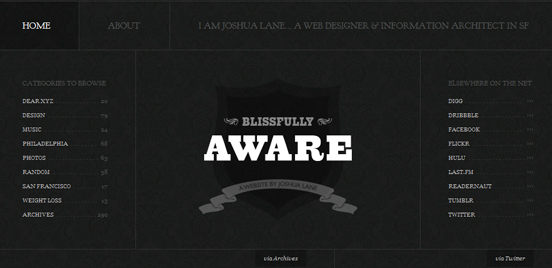 Blissfully Aware, Black and White Website