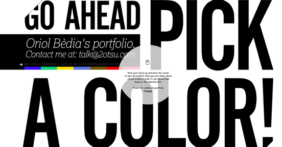 Oriol Bedia's Portfolio, Black and White Website