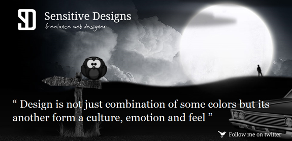 Sensetive Designs, Black and White Website