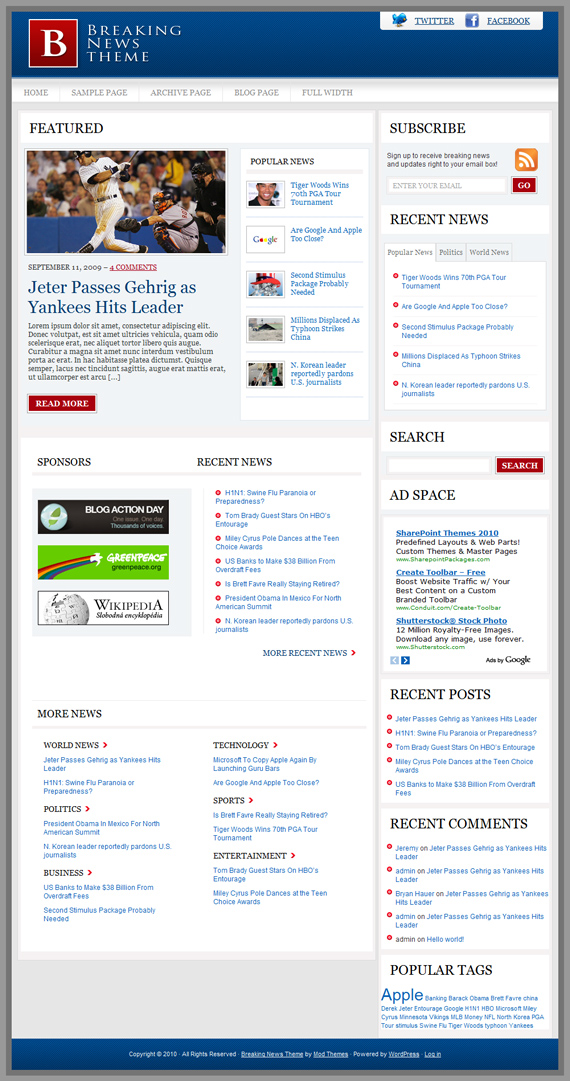 Breaking News WordPress Theme