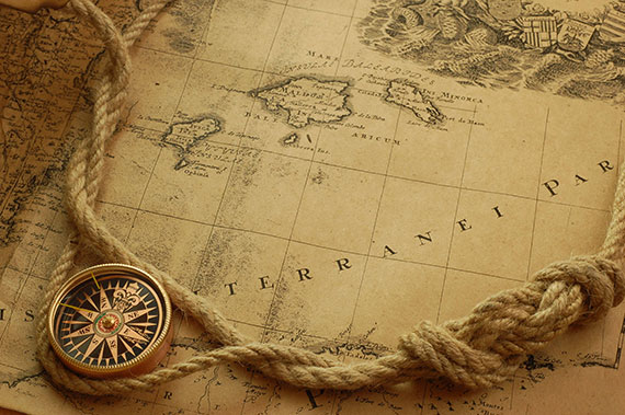 Compass, rope, map