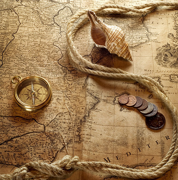 coins, map, rope