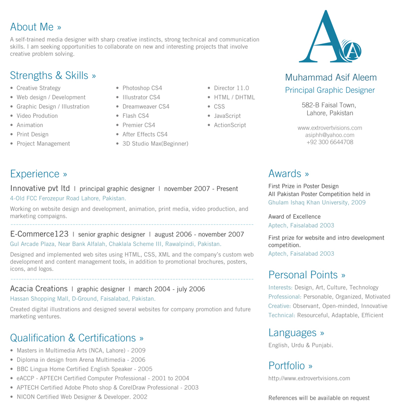 asif aleem new media designer pakistan resumes design - 1 Page Resume Template Word