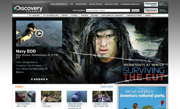 discovery channel, html 5 website design