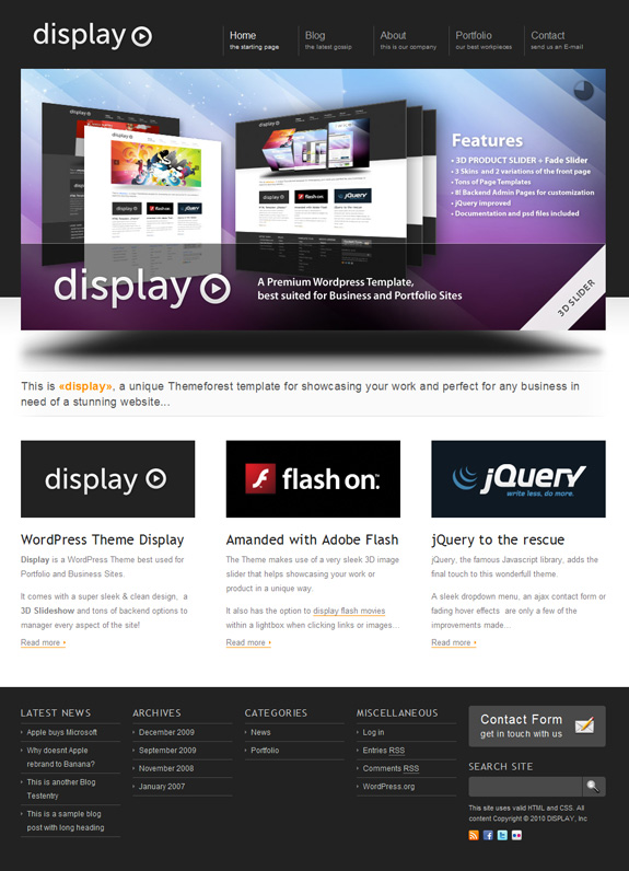 dispaly 3 in 1 wordpress premium theme download