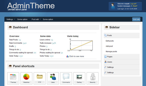 Admin Panel Theme, Web Application Interface Designs