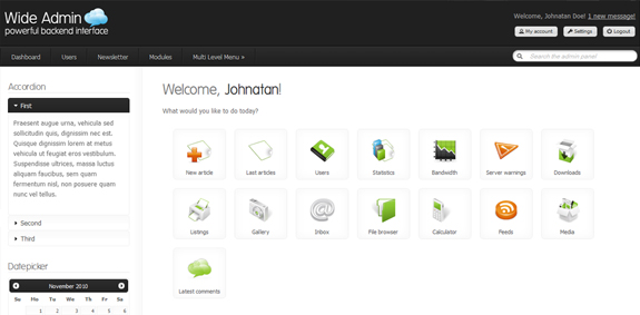 Wide Admin Panel, Web Application Interface Designs
