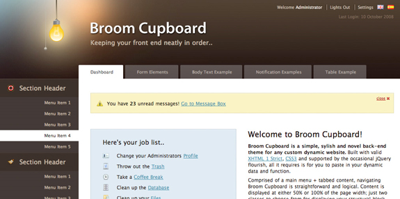 Broom Cupboard Web Application Interface Designs
