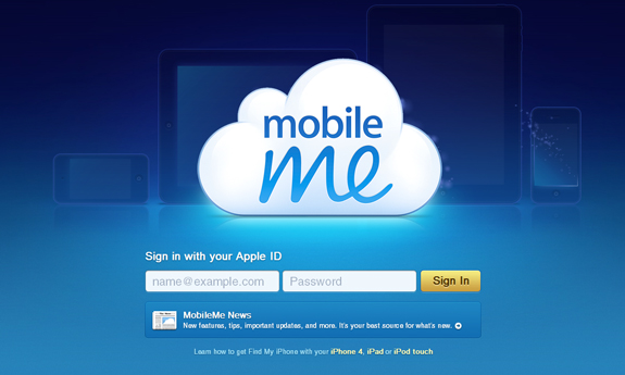 Mobile Me, Web Application Interface