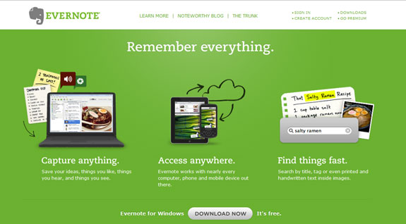Evernote, Web Application Interface