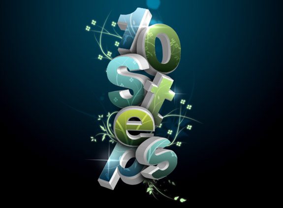 flowery 3D Text Photoshop 30 Striking 3D Text in Photoshop Tutorials