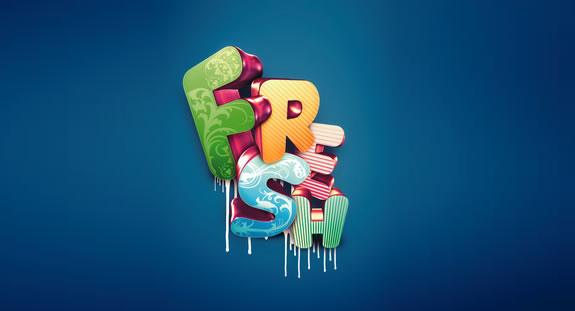 Fresh, 3D Text in Photoshop