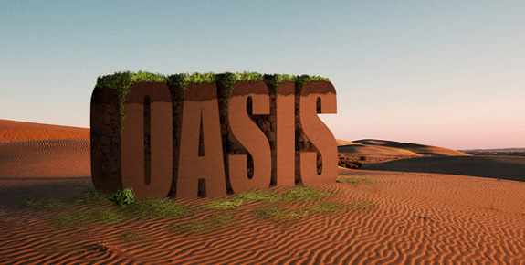Oasis, 3D Text in Photoshop