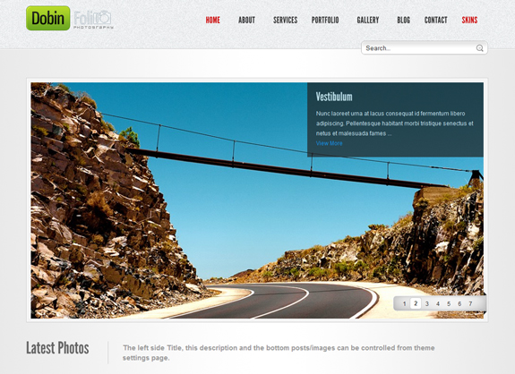 Dobin folio, WordPress Gallery of Photography Themes