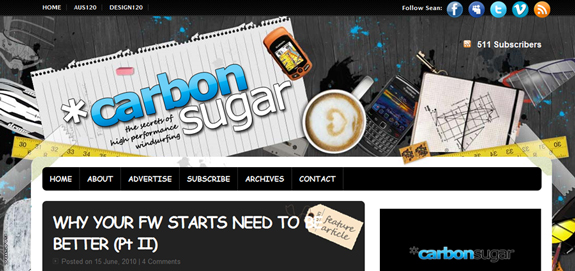 Carbon Sugar, Unique Blog Header Designs