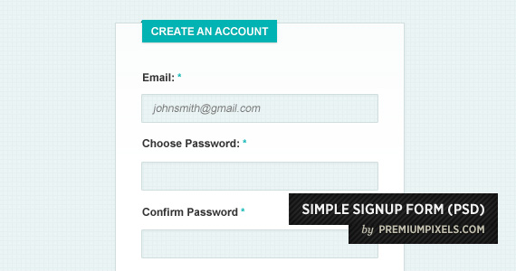 Simple Sign Up From Psd