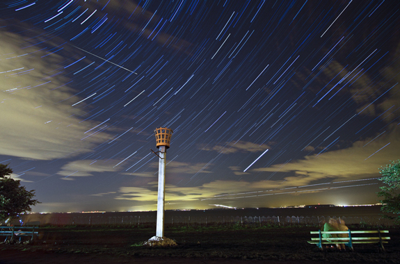Star Trails with Perseids Meteor