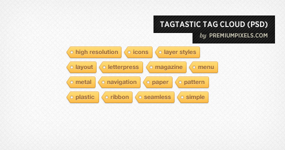 Tagtastic Tag Cloud PSD, Open Source Web Design Resources