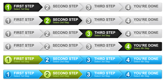 4 Steps Process Panel in 2 Colors