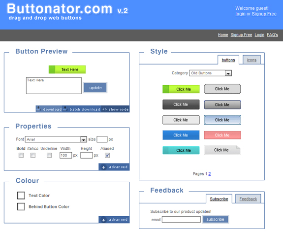 Butonator, Useful Sites for Web Designers and Developers