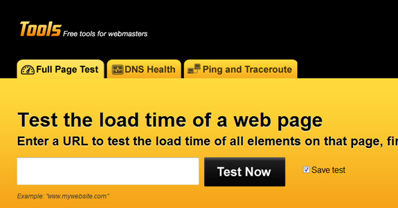 Pingdom, Test the load time of a web page