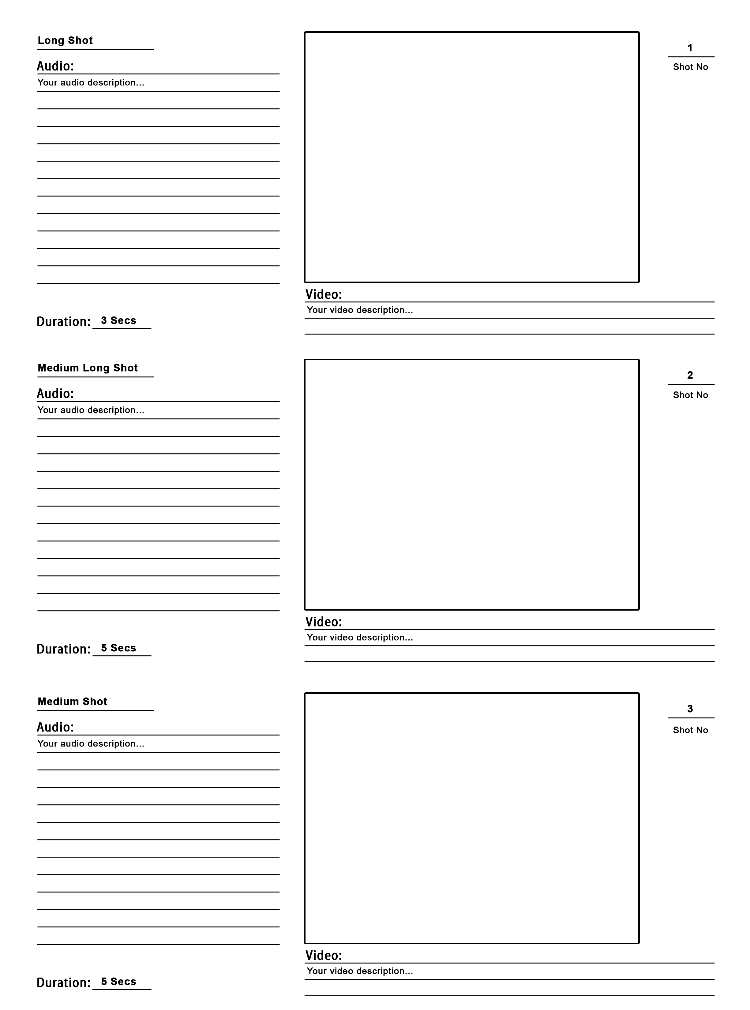 Storyboard template psd for your pre production the for Film storyboard template word