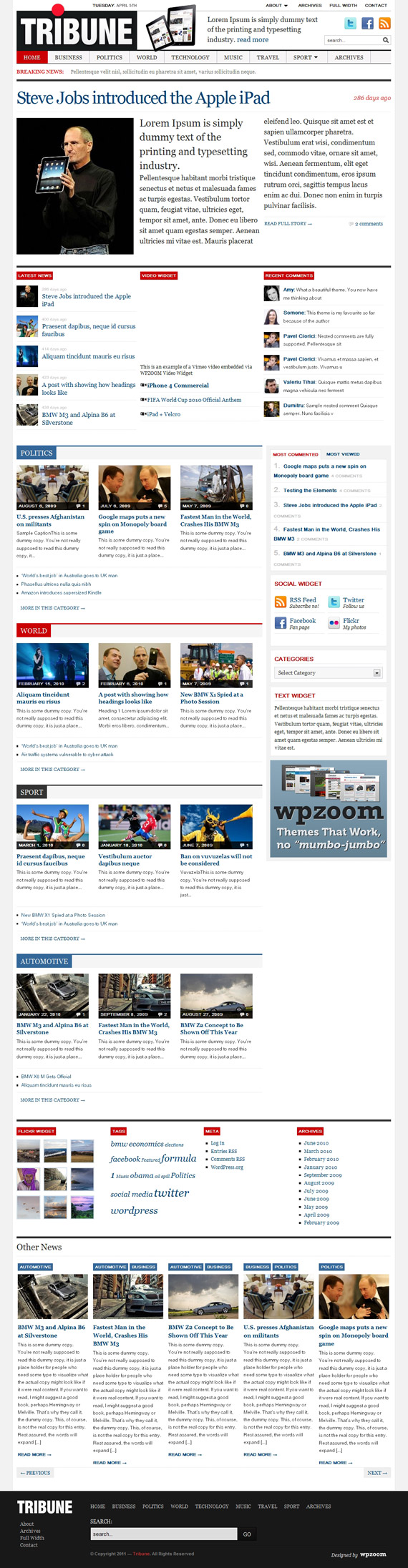 Tribune, WordPress Magazine Theme
