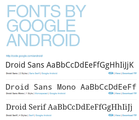 Free Fonts By Google Android