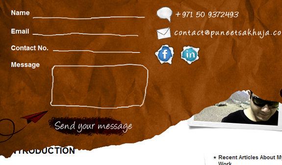 Puneet Sakhuja, Beautiful Contact Page Design