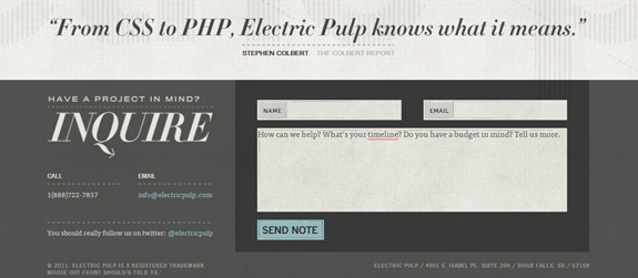 Electric Pulp, Beautiful Contact Page Design