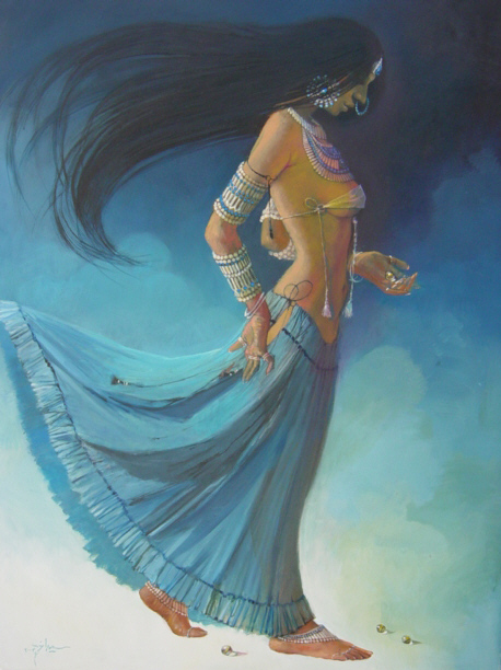 Walk On Clouds, Female Figure Painting