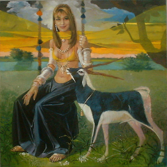 Shehzadi, Female Figure Painting