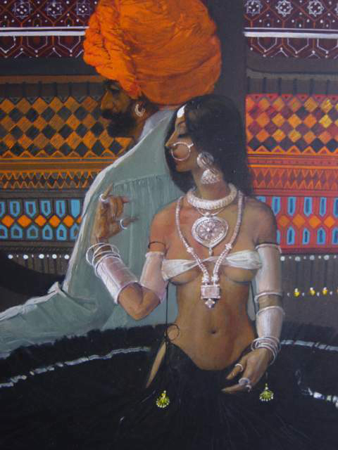 Rajhistani Couple Painting