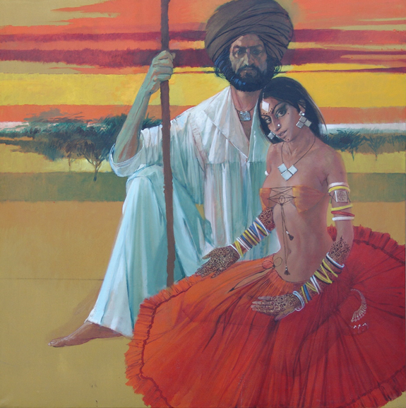 Rajhistani Couple Painting II