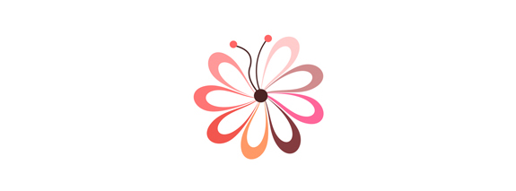 Flower Butterfly Logo Design Idea