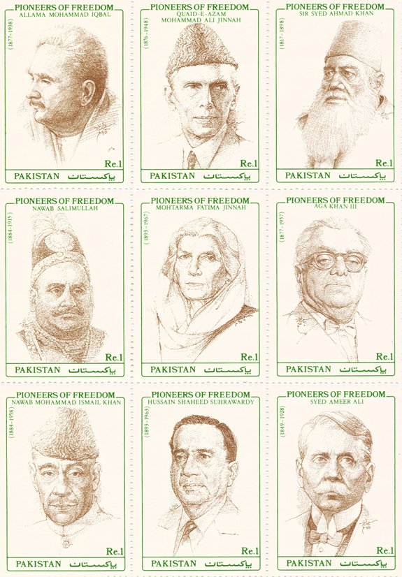 Sketched Postal Stamps Pioneers of Freedom By Saeed Akhtar