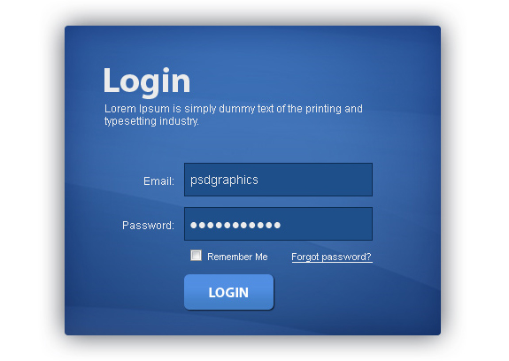 Login Box PSD