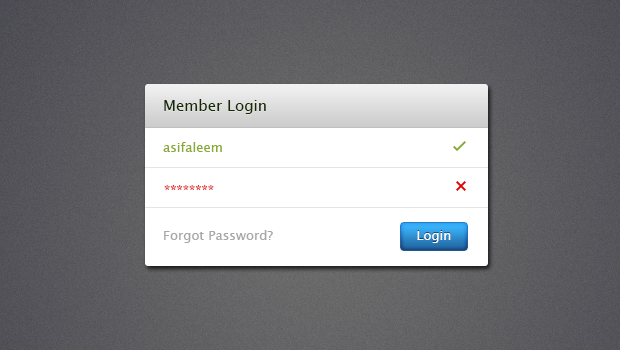 Login Web Form PSD