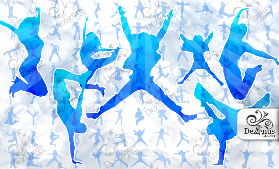 Jumping People Silhouettes (vector)