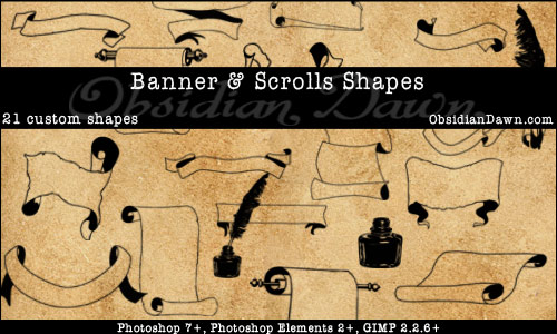 Banner + Scrolls Custom Shapes