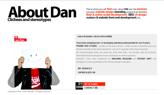 I am Dan - About Page Design