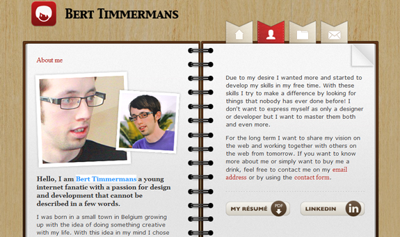 Bert Timmermans - About Me Page Design