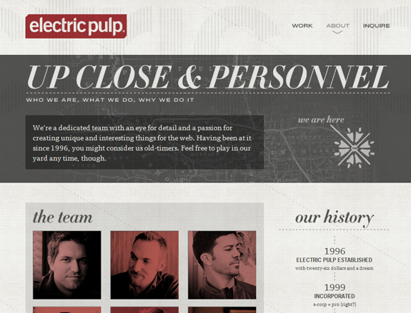 Electric Pulp - Team Page Design
