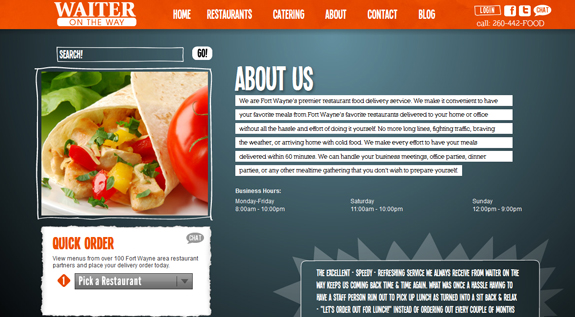 Waiter On The Way - About Us Page Design