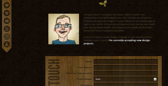 Ryan Scherf - About Me Page Design