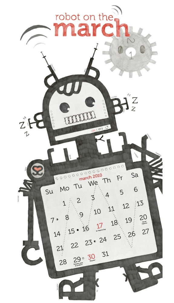 Robot on the March - Calendar Design