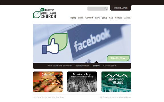 Woodlawn Church Web Layout Design