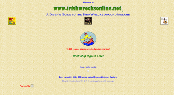 Irish Wrecks - Bad Web Design