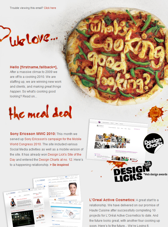 Food Email Newsletter Designs