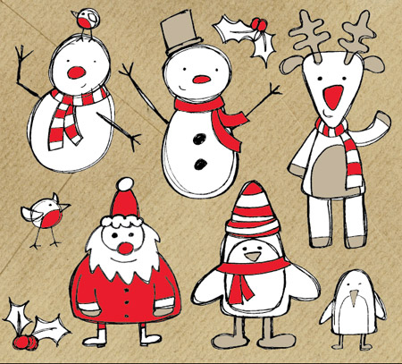 Free Christmas Themed Sketchy Vector Graphics